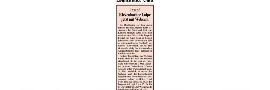 Rickenbacher Loipe jetzt mit Webcam